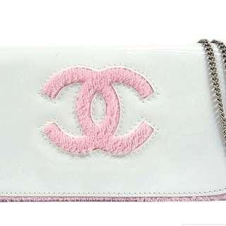 Chanel White Pink Clutch bag Purse