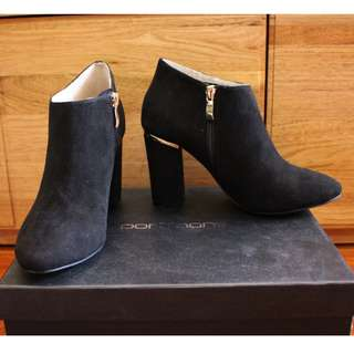 Portmans New Black Suede Budapest Ankle Heeled Boots Size 36