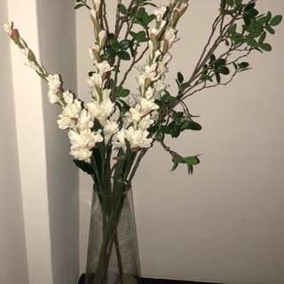 Clear Glass Standing Vase with Flowers