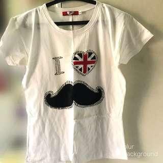 I love moustache white tee
