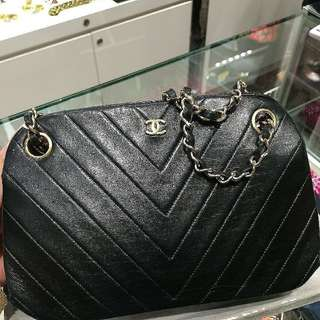 Chanel Double Chain 小羊皮v 紋chain bag