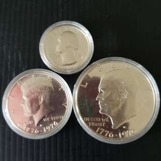 1976 USA 25 Cent, 50 Cent, $1 Silver Proof Coin