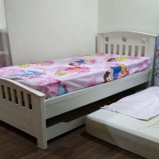 White Single bed frame with pullout