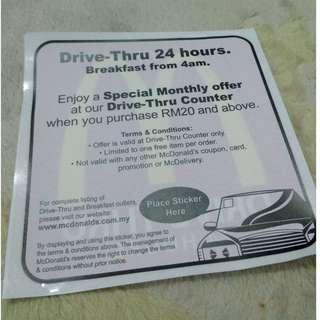 McDonald's McD Car window sticker