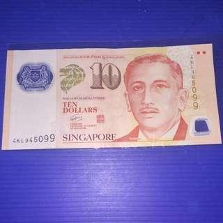 Singapore Portrait $10 No.9H9T + Star logo *