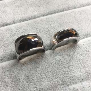 AUTHENTIC Hematite Couple GemStone Rings ~ 925 Silver ~ Zirconia