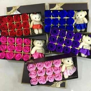 12 pcs soap  rose with bear