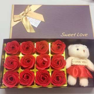 Flower Soap with Bear in a box (Valentines Gift)