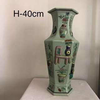 A green Glazed Porcelain Famille-verte multi convex floral vase-good condition