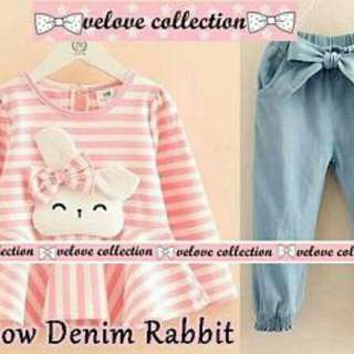 Set bow denim rabbit kid