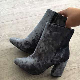 Blue Crushed Velvet Boots