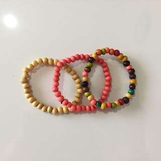[TAKE ALL] Assorted Wooden Bracelets (2) (Gelang)