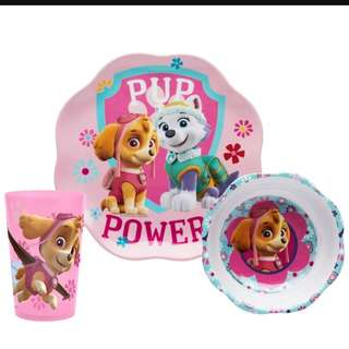 Paw patrol ZAK 3 pieces meal time set (bowl, plate & cup) Skye & Everest (Brand new)