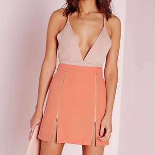 Missguided a-line ring zip skirt in blush pink