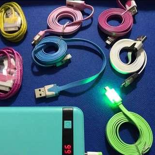 $50/4pcs micro usb or iphone 4 充電線(1m) 閃燈