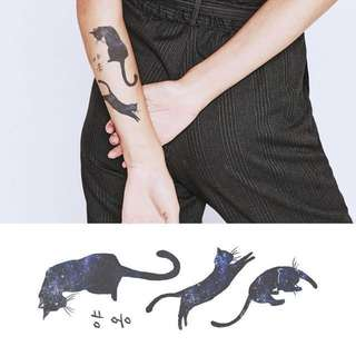 BN Instock Temporary Tattoo Temp Tattoos Black Cat