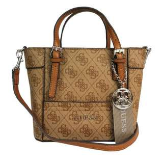 GUESS MINI SATCHEL (BROWN LOGO)