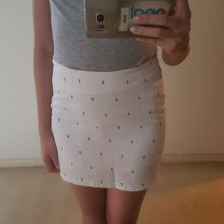 White Anchor Patterned Short Mini Skirt