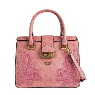 GUESS SIGNATURE LOGO SATCHEL (DARK PINK)