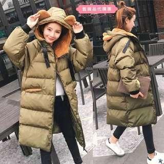 [正韓]冬季寬鬆中長版羽絨保暖麵包服小熊耳朵連帽外套