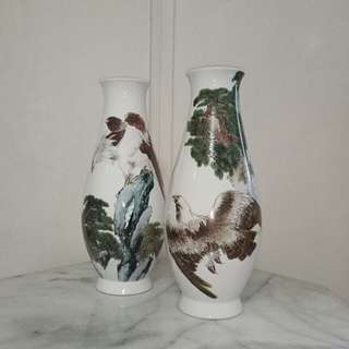70s A Pair Vase with enamel painting pine tree and eagle height 35cm perfect