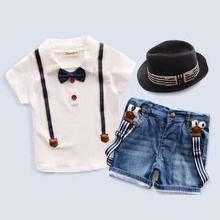 🌟INSTOCK🌟 3pc Smart Bow Ribbon White Collar Tshirt and Jeans Shorts with Suspender Belt Set Newborn Baby Toddler Boy Children Kids Clothing
