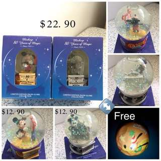 Vintage Set Of 2 Mickey's Snow Globe