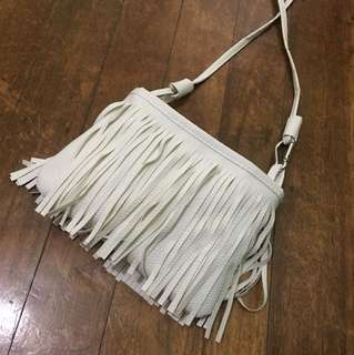 White Fringe Sling Bag