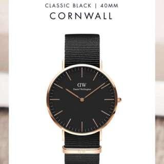 Daniel Wellington Classic Black Cornwall 40mm Original Authentic Legit