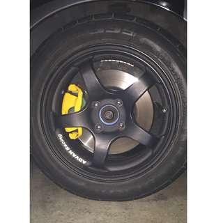 "15"" advan racing black rims with tires"