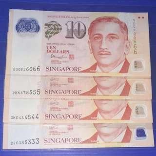 Singapore Portrait $10 Almost Solid Number (3pcs)