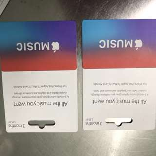 X 2 Apple Music cards