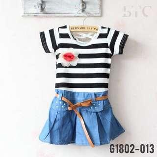 [READY STOCK]  🌸 Stripe Denim Dress