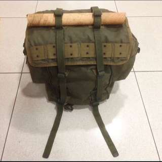 Vintage 1960's Heavy Duty Waxed Canvas Military Haversack Backpack Field Bag Travel Camp Outdoorsman