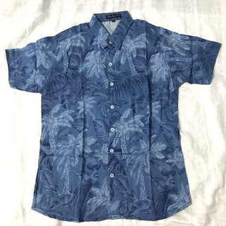 Denim Coconut Mens Floral Summer Button Down Polo