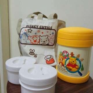 食物壼連袋Food flask with Disney Winnie the Pooh