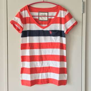 Abercrombie & Fitch Red White Blue Striped Tshirt Size S