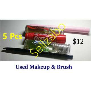 Welfare Bundle (3) : Lips Smacker Maybelline Gloss Lipgloss Brush Eyes Used Cosmetics Makeup Beauty Face
