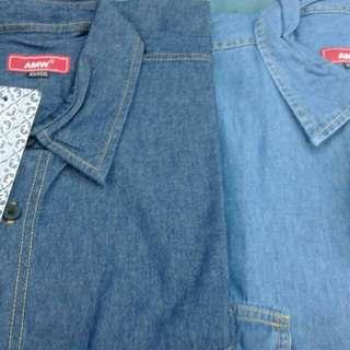 Kemeja jeans import size 3xl-6xl