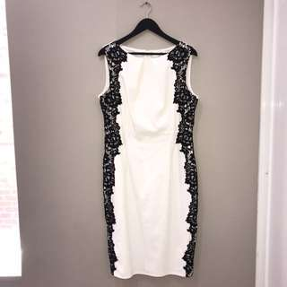 White dress with black lace (size 18)