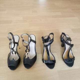 Black gold strap chain heels stilleto