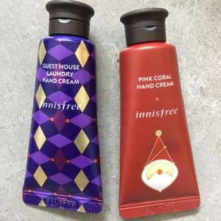 Set of Innisfree hand cream (Guest house laundry & Pink Coral)