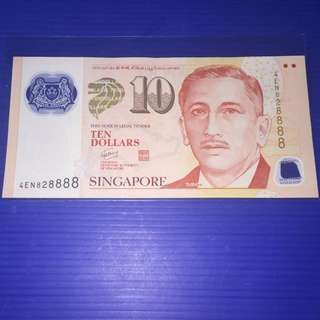 Singapore Portrait $10 Lucky Almost Solid No.828888