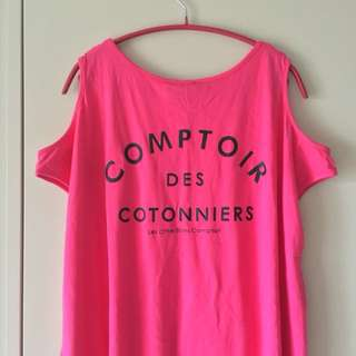 [NEW] Othermix Comptoir Des Cotonniers Cut Shoulder Pink Shortsleeve Fringe Top Size M