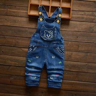 Baby Overall Embroider Design Kitten Denim Blue
