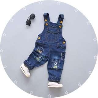 Baby Unisex Overall Embroider Design Bear Denim Blue