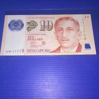 Singapore Portrait $10 Almost Solid No.111119