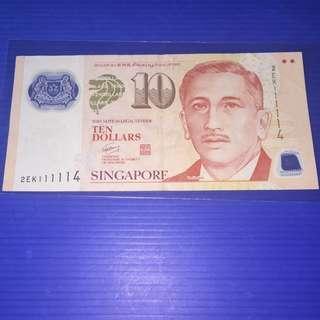 Singapore Portrait $10 Almost Solid No.111114