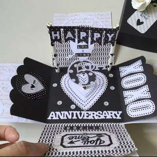 Happy 6 Anniversary Explosion Box Card in black and white