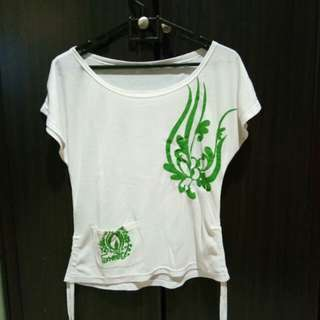 green and white woman blouse